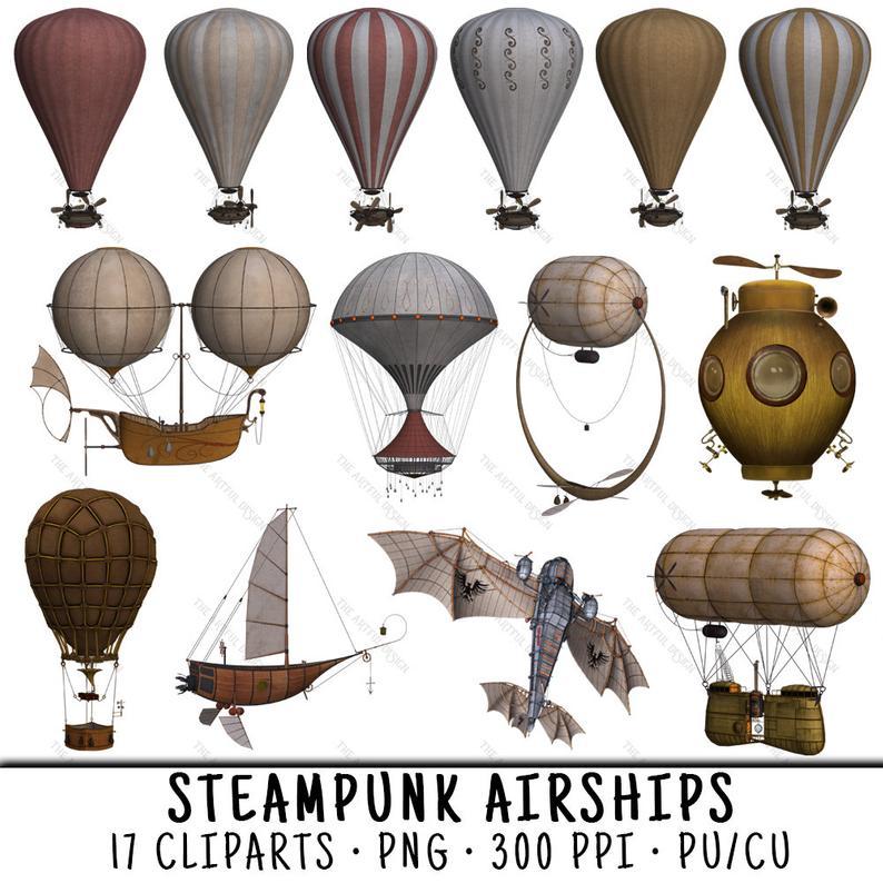 Steampunk clipart airline wing. Air balloon clip art