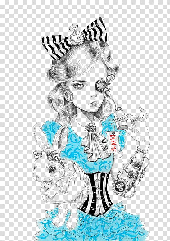 White rabbit drawing cheshire. Steampunk clipart alice in wonderland