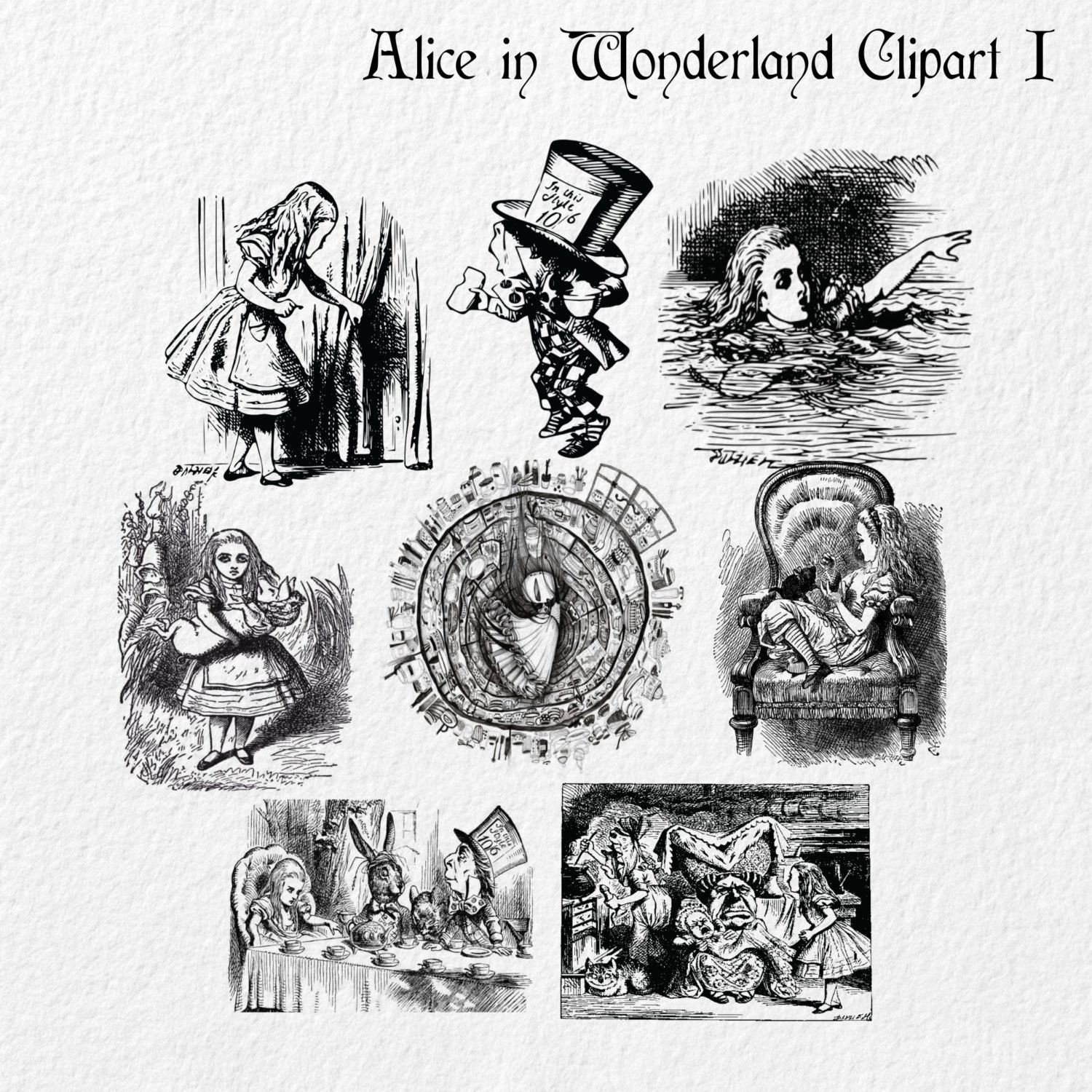 Steampunk clipart alice in wonderland. Vintage clip art