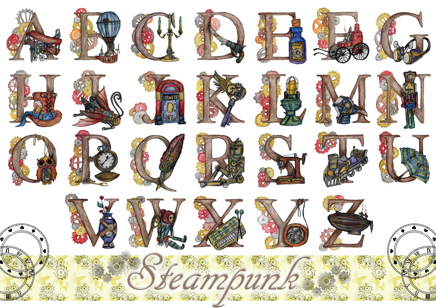 Free cliparts letters download. Steampunk clipart alphabet