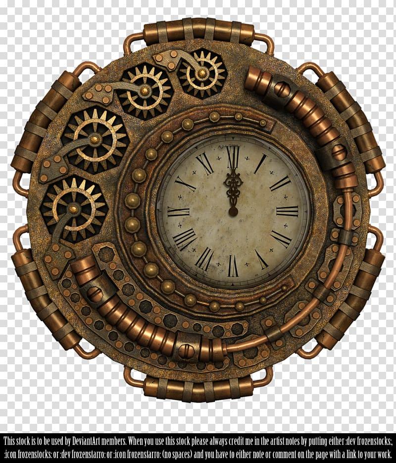 Round brass colored mechanical. Steampunk clipart antique clock