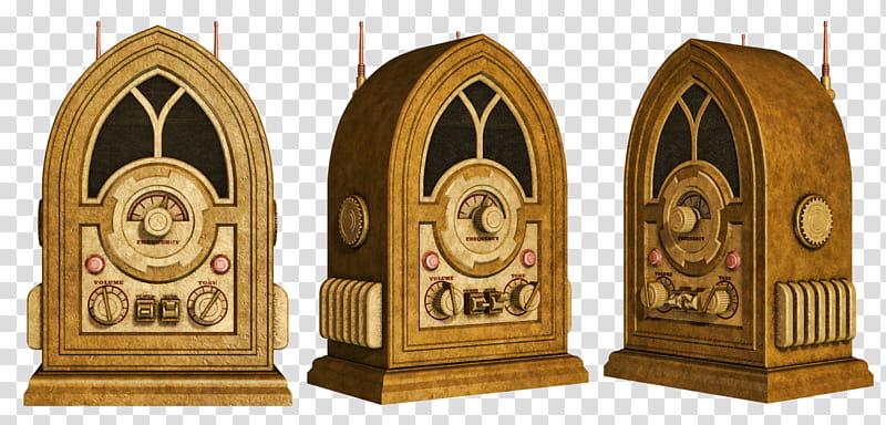 Radio three dome brown. Steampunk clipart architecture