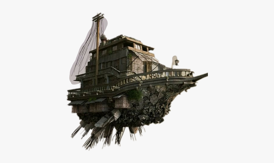 Steampunk clipart architecture. Flying boat house island