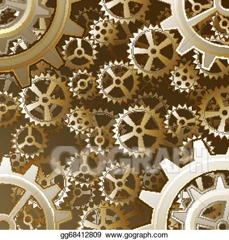 Vector art gears drawing. Steampunk clipart background