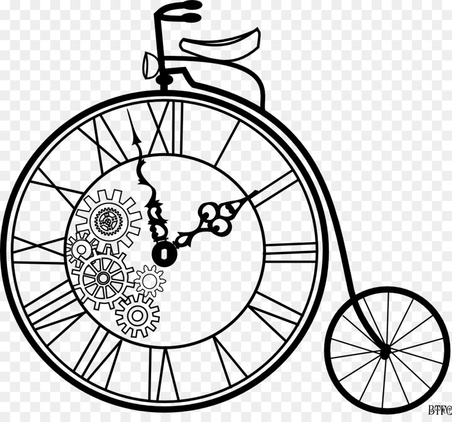Clock cartoon product font. Steampunk clipart bicycle gear