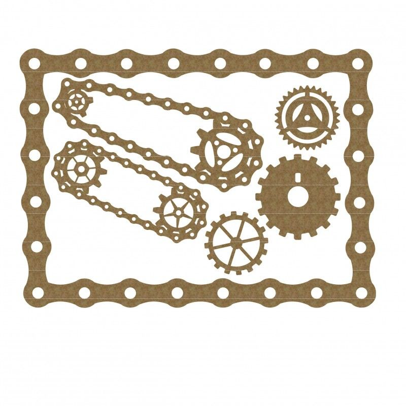Chain and gears frame. Steampunk clipart bicycle gear