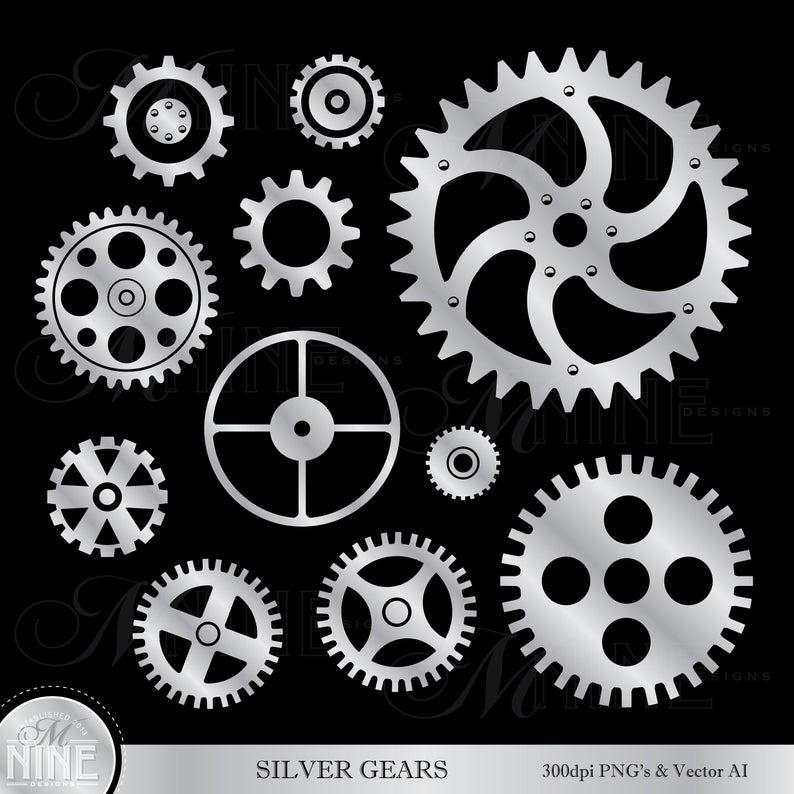 Silver gears clip art. Steampunk clipart bike gear