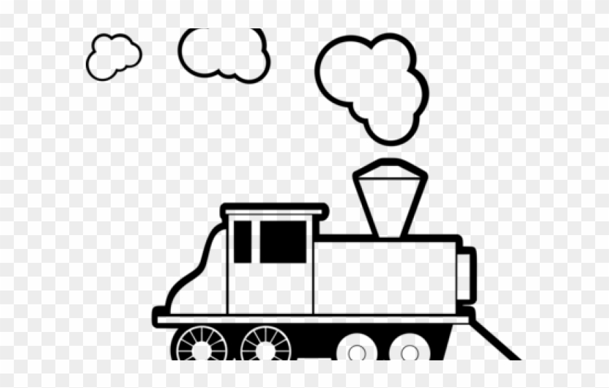 Locomotive steam engine . Steampunk clipart black and white