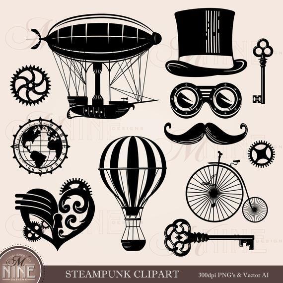 Steampunk clipart blimp. Style clip art downloads