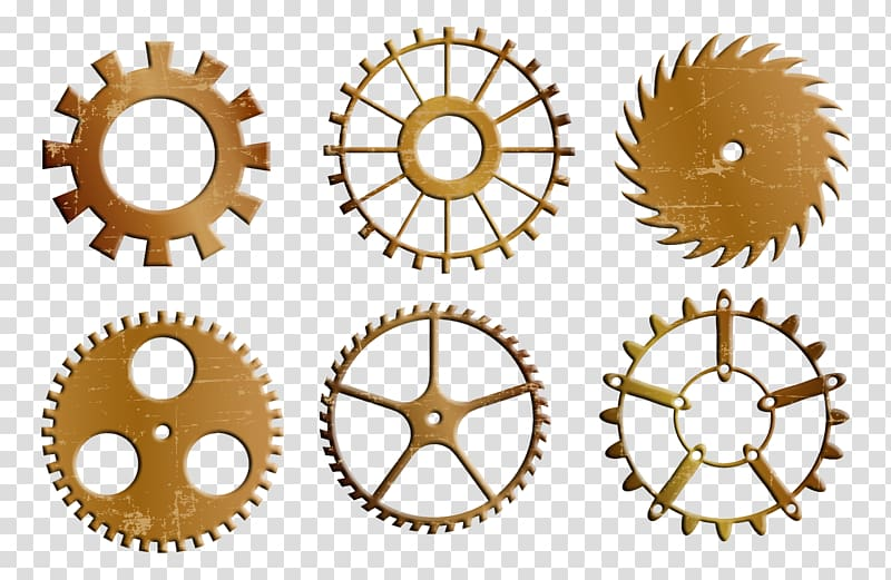 Steampunk clipart chain sprocket. Six brown gears bicycle