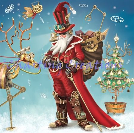 Steampunk clipart christmas. Santa charting creations