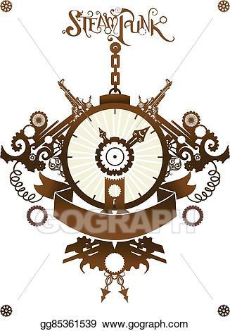 Vector ribbon illustration . Steampunk clipart classic clock