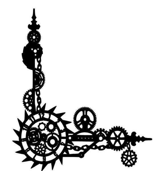 Style svg file gears. Steampunk clipart clockwork gear