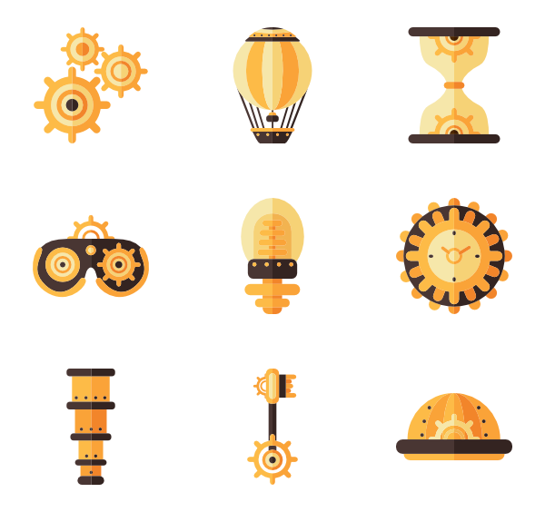 Steampunk clipart cogwheel. Icons free vector elements
