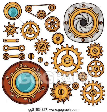 Steampunk clipart cogwheel. Clip art vector set