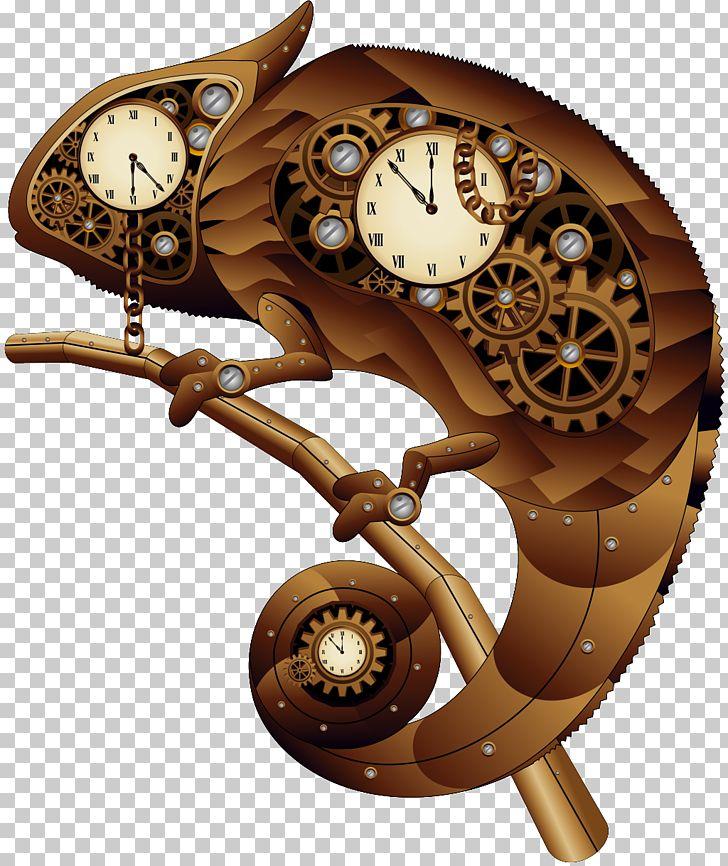Steampunk clipart cool clock. Chameleons lizard png animals