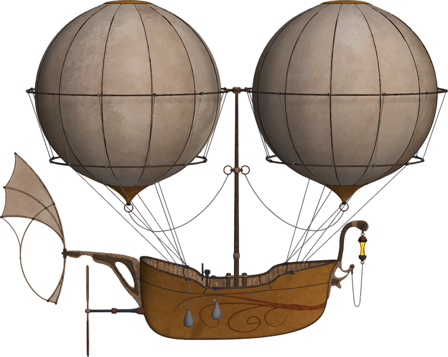 Atlantis on the shores. Steampunk clipart dirigible