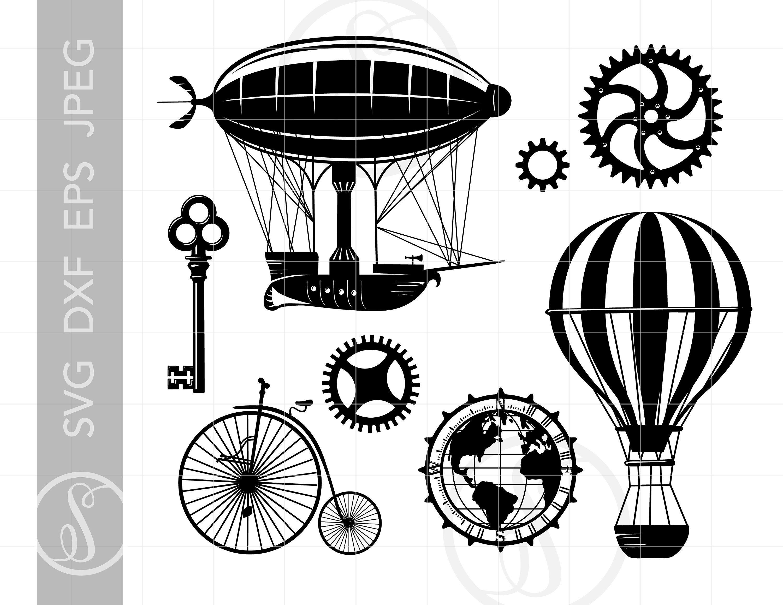 Steampunk clipart file. Svg cut downloads balloon