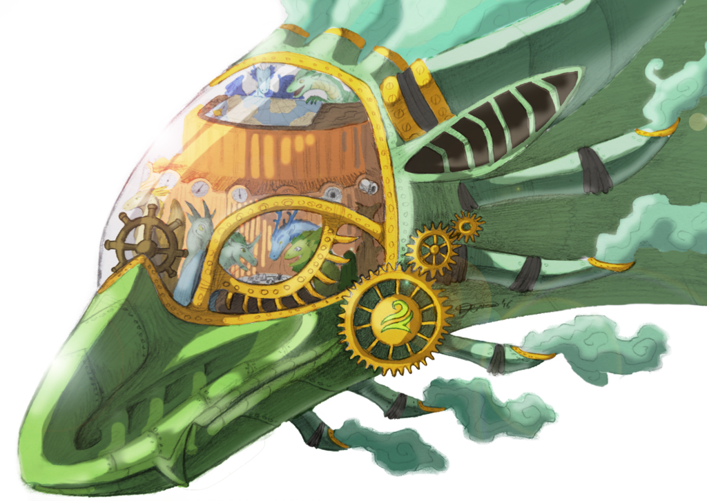 Windsinger by the fox. Steampunk clipart flight wing