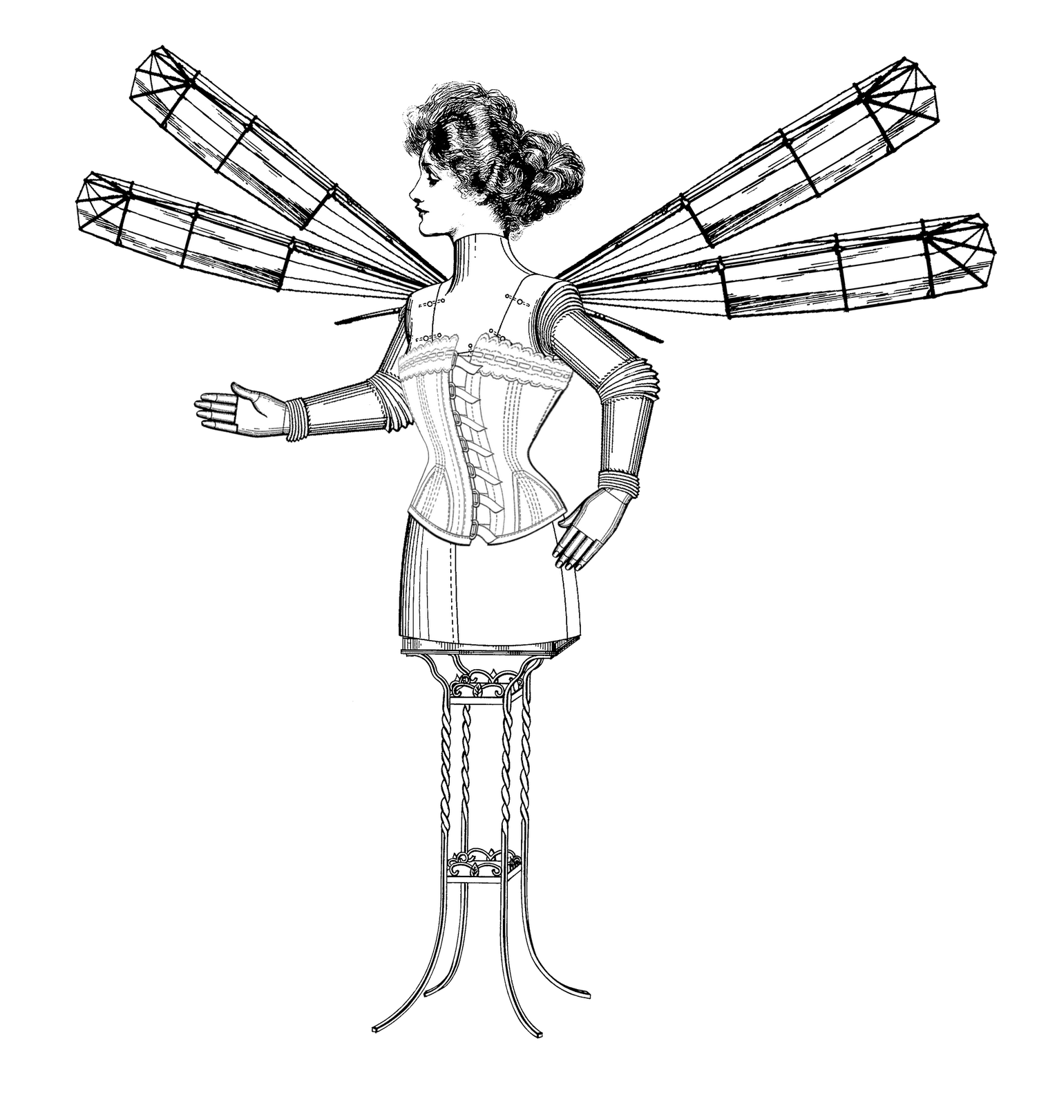 The sum of all. Steampunk clipart flying machine