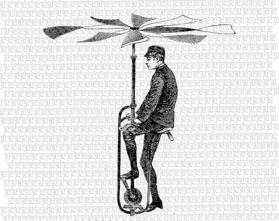 Man victorian technology invention. Steampunk clipart flying machine
