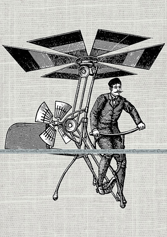 Vintage man in by. Steampunk clipart flying machine