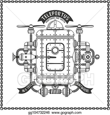 Vector stock fantastic metal. Steampunk clipart flying machine