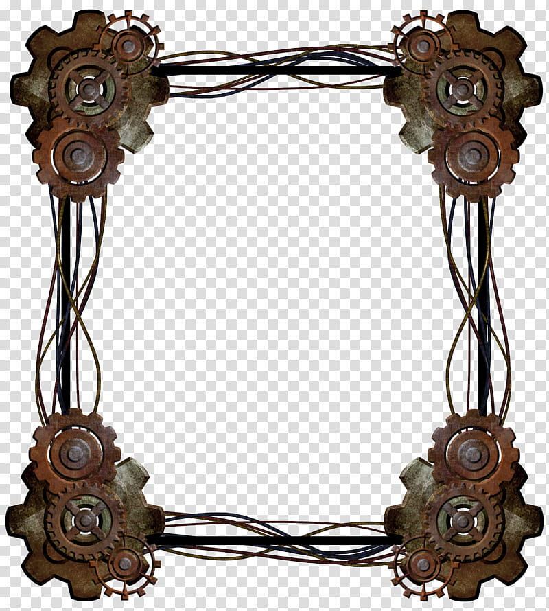 Border brown transparent background. Steampunk clipart frame