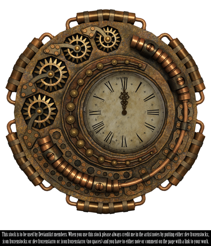 Rendered in poser pro. Steampunk clipart gold clock