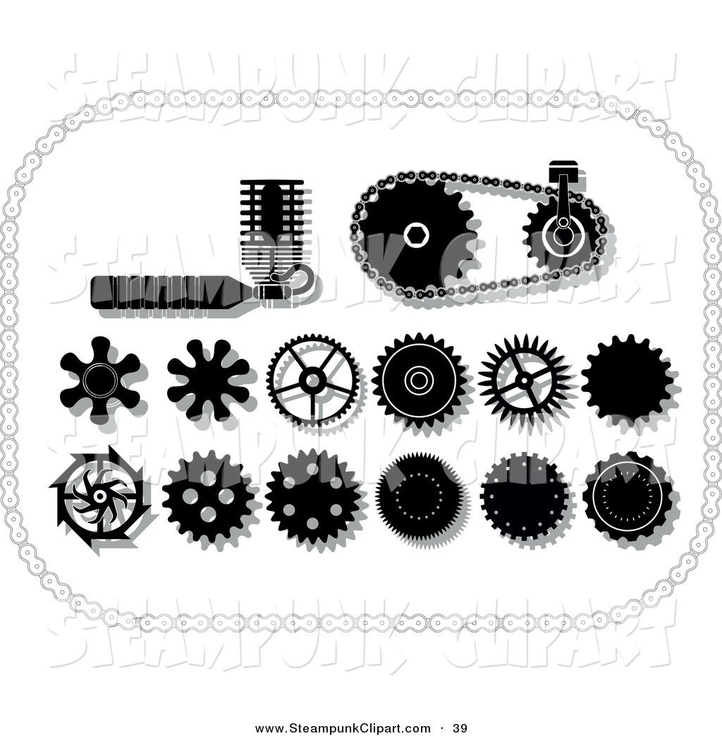 Design elements cogs and. Steampunk clipart mechanical gear