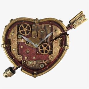 Heart gears clock designs. Steampunk clipart metal gear