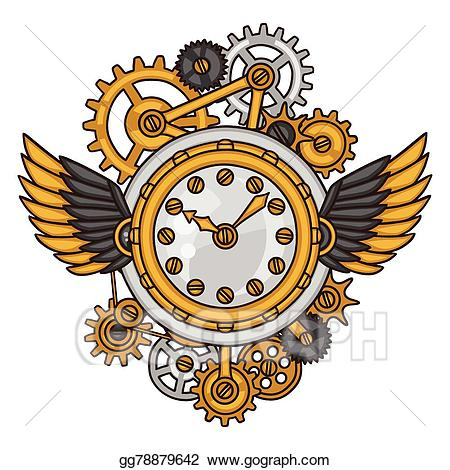 Vector stock clock collage. Steampunk clipart metal gear