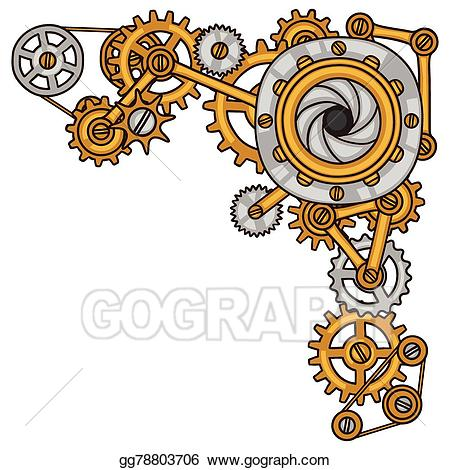 Steampunk clipart metal gear. Vector stock collage of