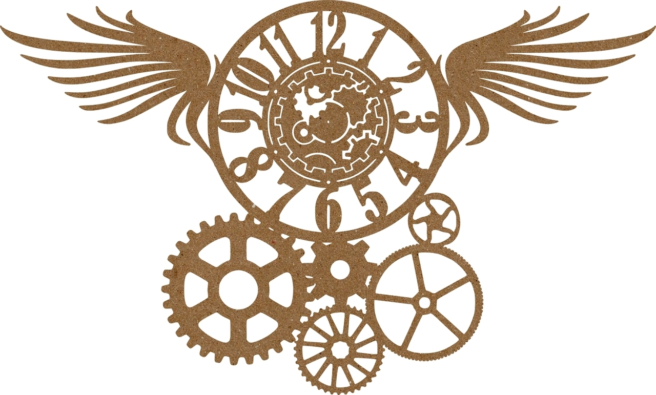 Steampunk clipart military wing. Wings clock gears