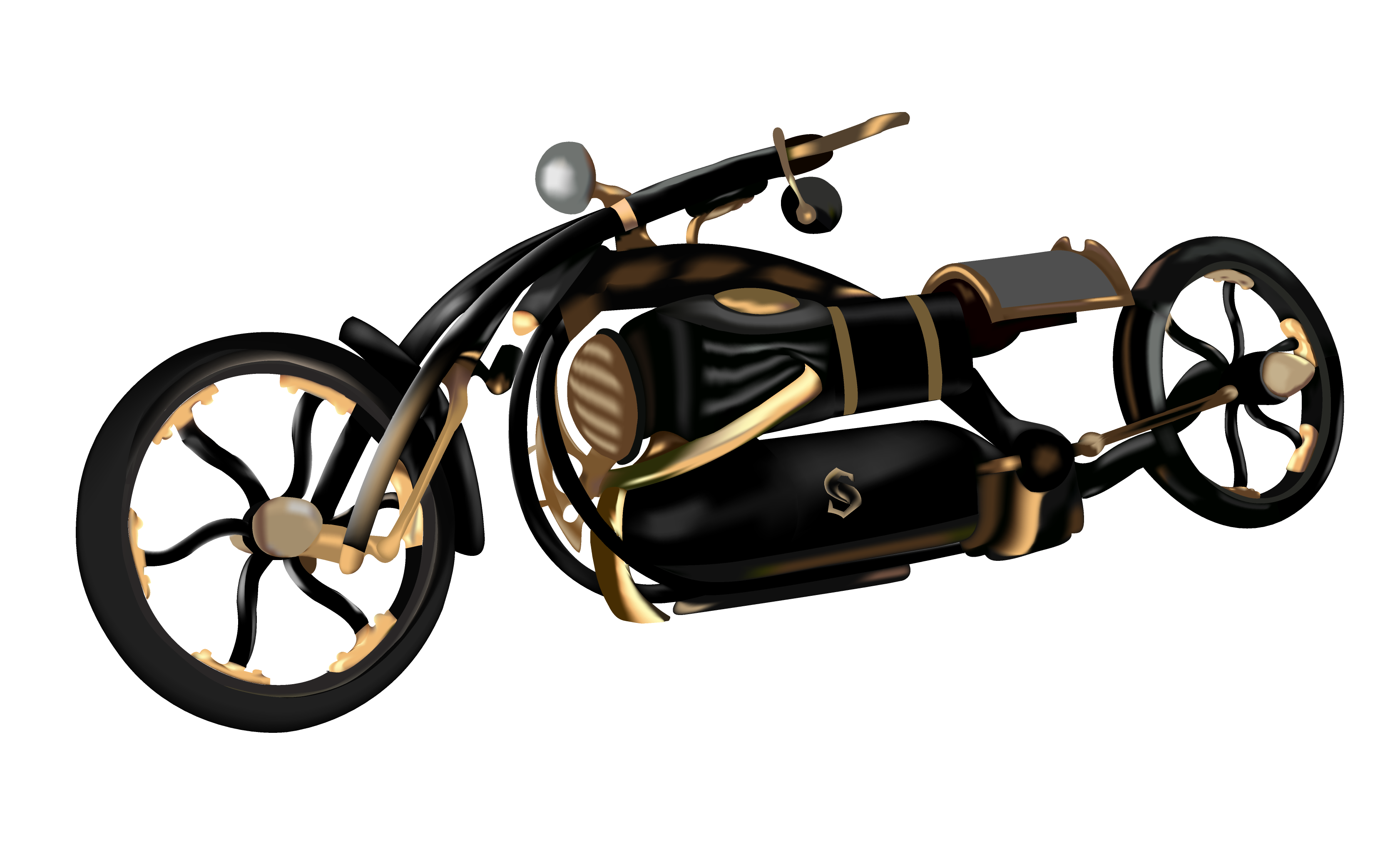 Bicycle black widow motor. Steampunk clipart motorcycle gear