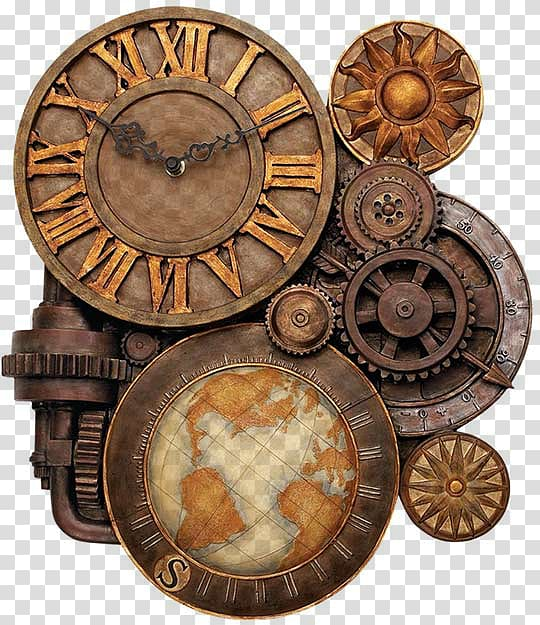 Brown and beige gear. Steampunk clipart old fashioned