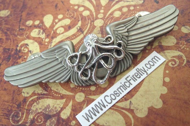 Pin flying octopus flight. Steampunk clipart pilot wing