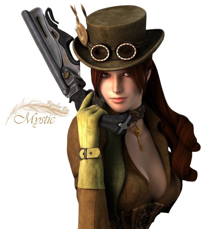 By render master on. Steampunk clipart steampunk girl