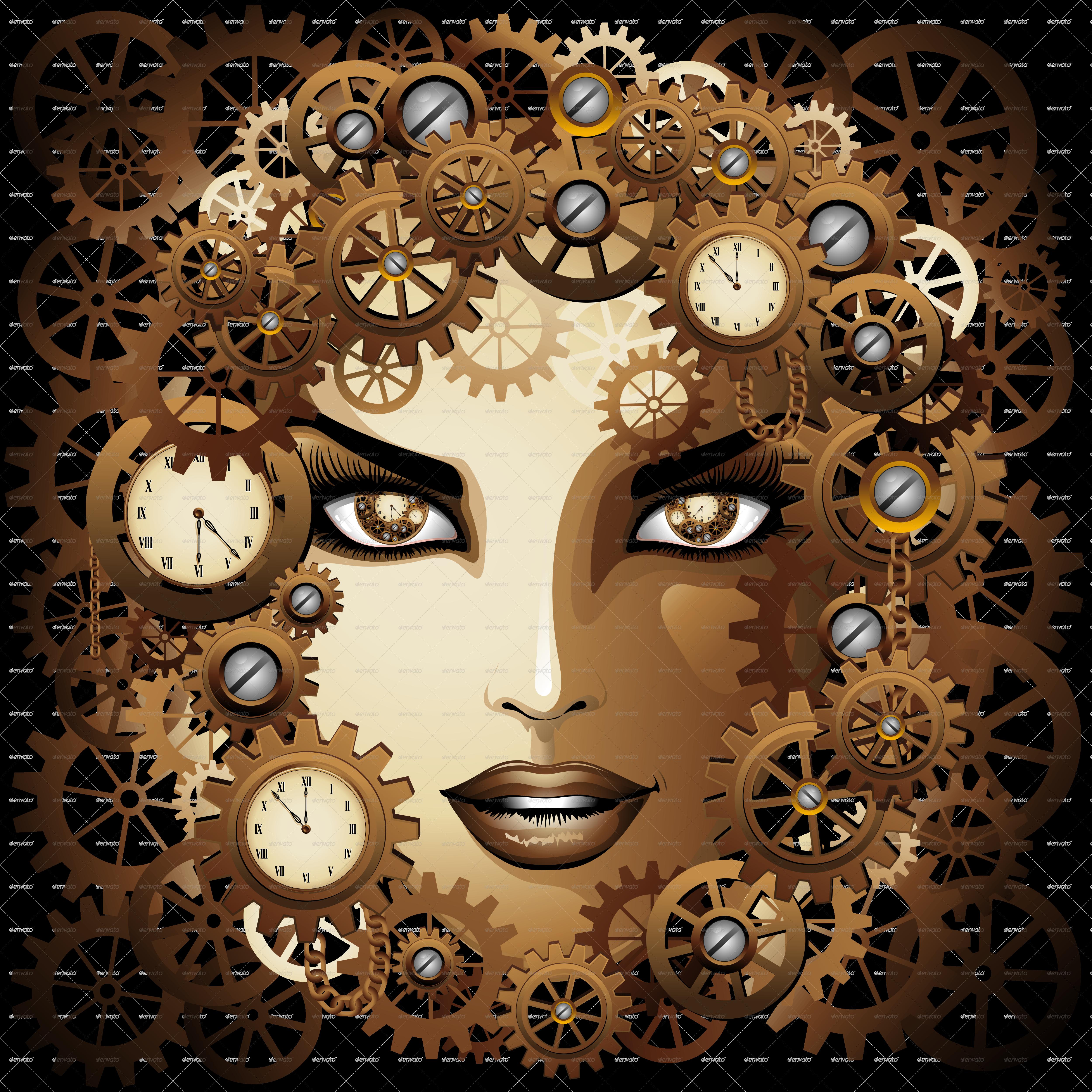 Portrait by bluedarkat graphicriver. Steampunk clipart steampunk girl