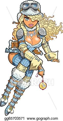 Steampunk clipart steampunk girl. Eps illustration sexy snow