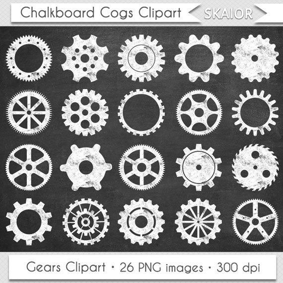 Chalkboard gears cogs clip. Steampunk clipart vector