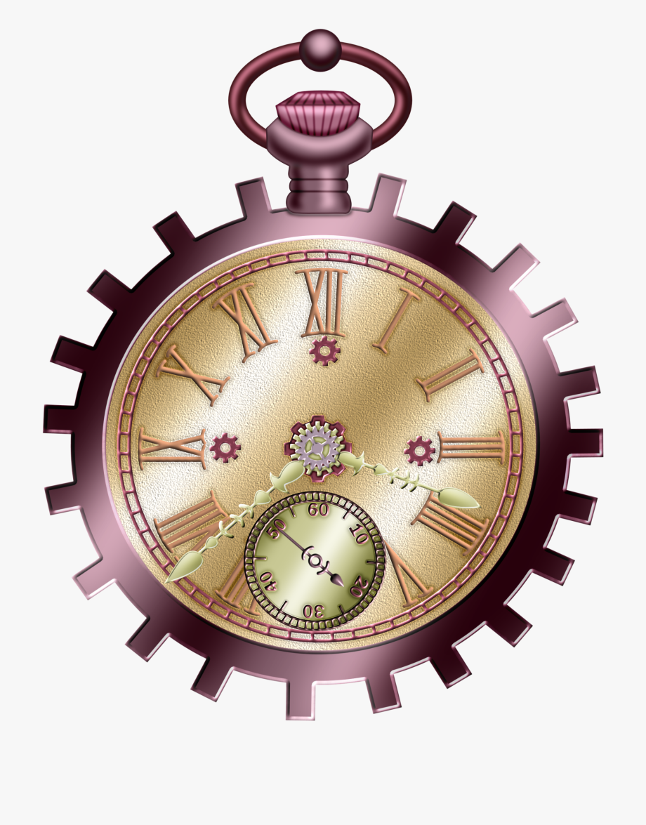 Pocket watch balloons shimano. Steampunk clipart vintage clock