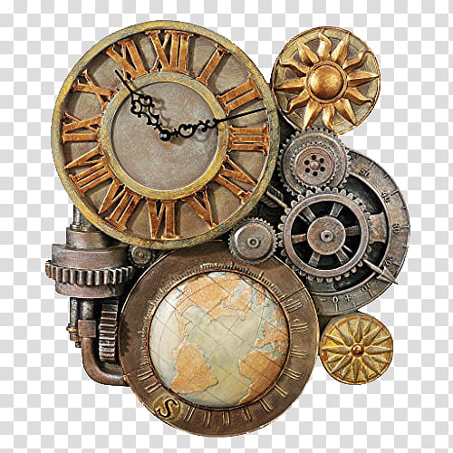 Brown black and gray. Steampunk clipart vintage clock