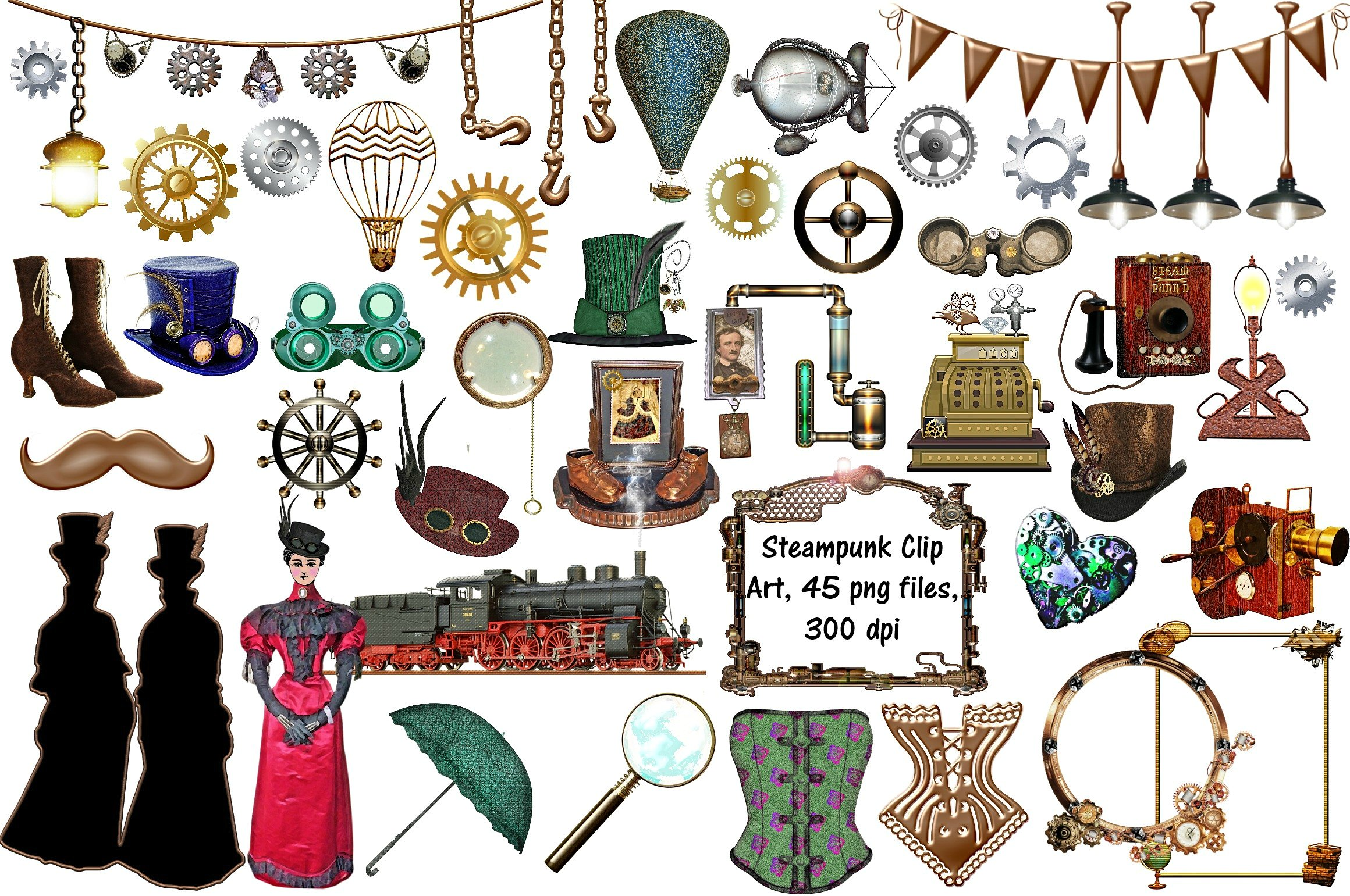 Steampunk clipart. Clip art png files