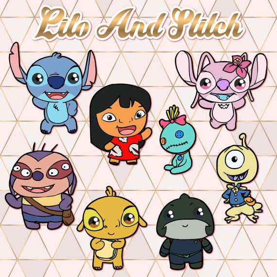 Stitch clipart clip art. Lilo and kawaii design