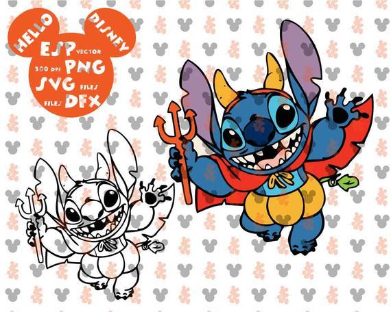 Stitch clipart pdf. Disney halloween lilo cut