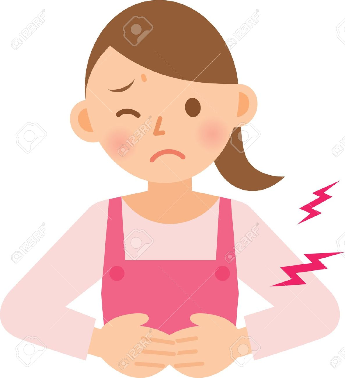Stomach clipart. Woman ache