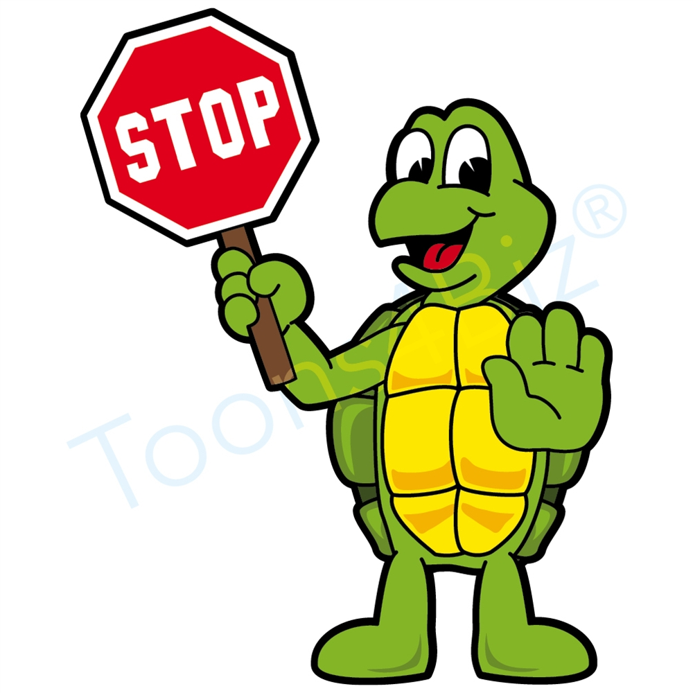 Stop clipart. Turtle mascot holding a