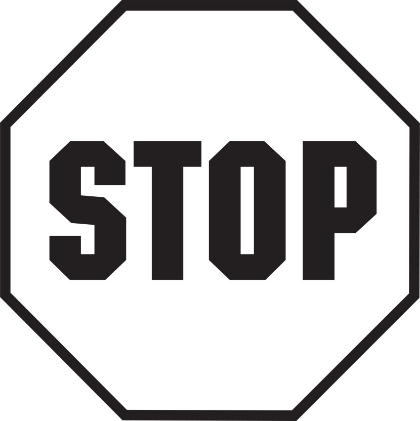 Black and white clipartix. Stop sign clip art