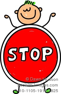 A happy little boy. Stop sign clip art